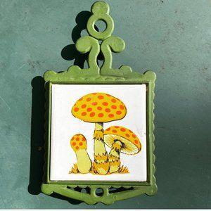 Vintage MCM Mod Mushroom Tile Trivet Hot Plate